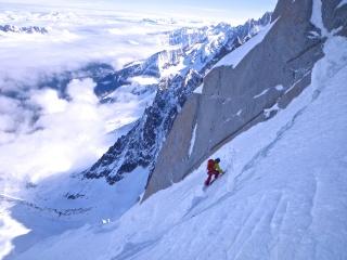 Esqui Via Mallory + Eugster 1000m MD+ 5.4 E4 60º (Cara Norte Aiguille du Midi, Alpes) (Isra) 0520