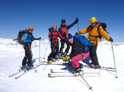 Kike, Ana, David, Sandra y Angel en la cumbre del Pigne d'Arolla! 3.800m