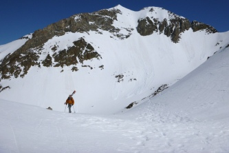 Looking back to Infiernos and its South couloir